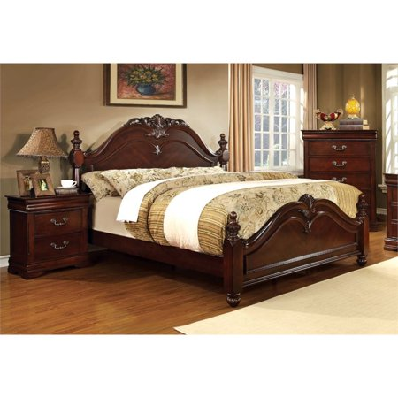 Furniture of America Noren 3 Piece Queen Panel Bedroom Set in Cherry