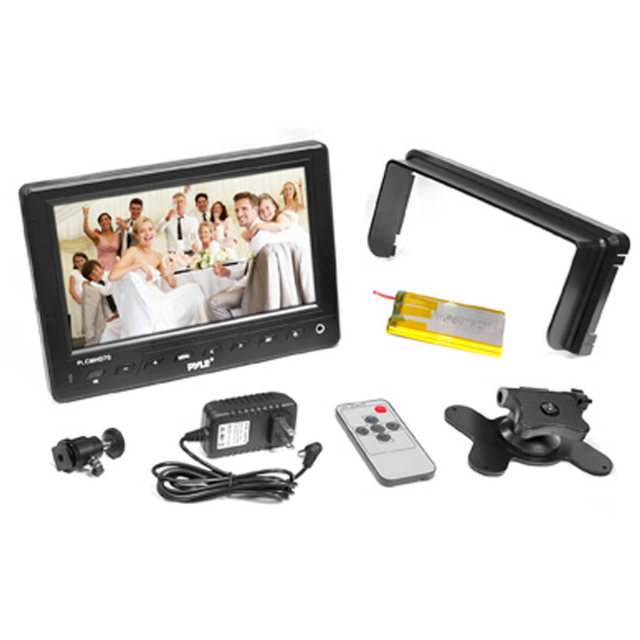 Pyle 7'' HD Video On-Camera Field Monitor with HDMI, YPbPr, AV, Audio Inputs for Digital Cameras, Video Cameras and DSLR Cameras