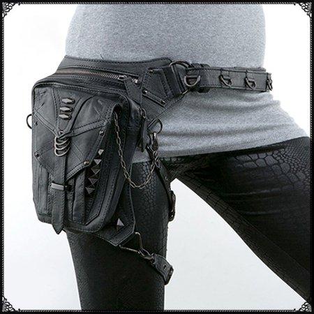 d8ef9c8857b Fancy Women/Men Black Leather Steampunk Leg Thigh Hip Holster Wallet ...