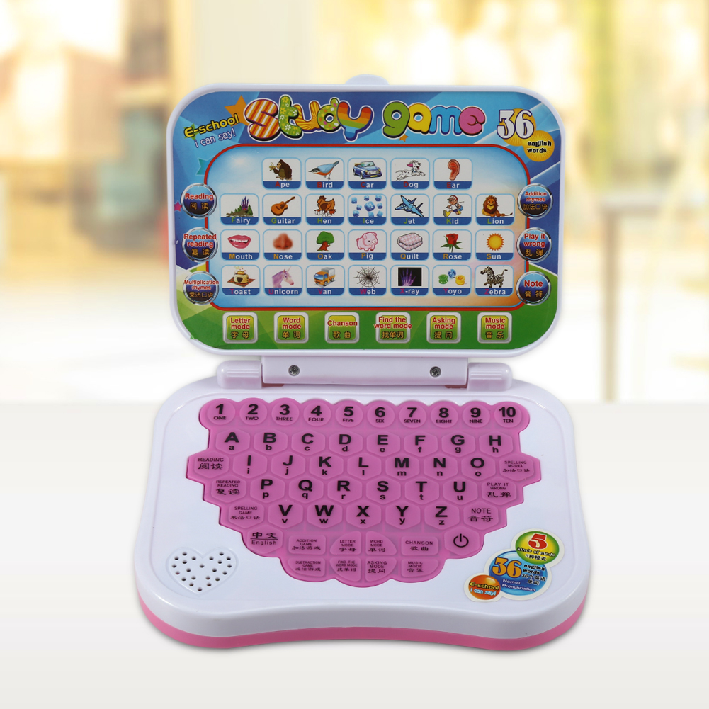Baby Kids Children Chinese and English Bilingual Educational Learning Study Toy Laptop Computer Game, Toy Laptop, Learning Laptop