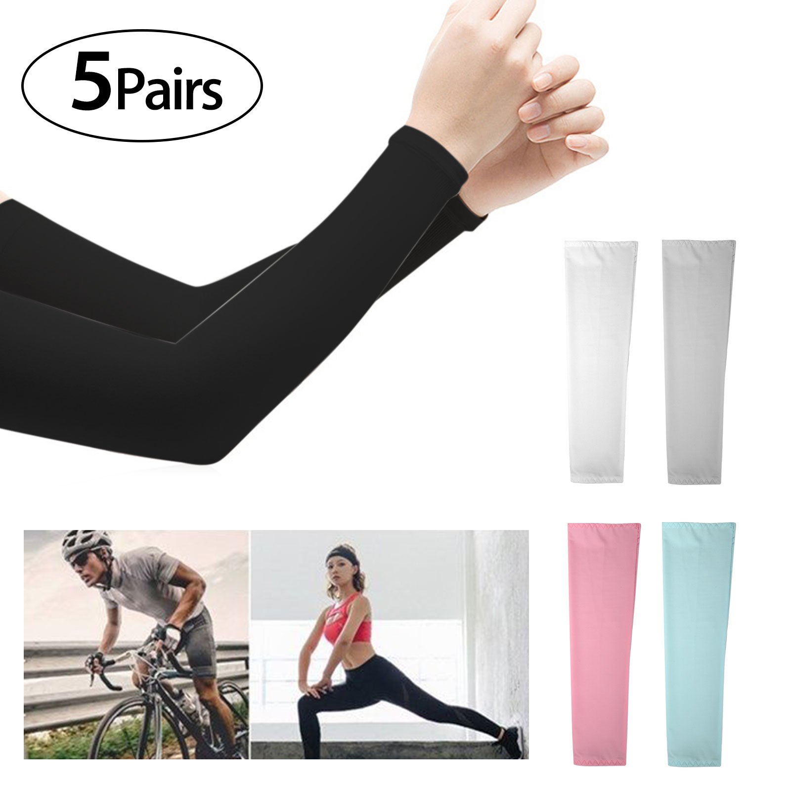10 pieces 5 pairs Cooling Arm Sleeves Cover UV Sun Protection Basketball Sport