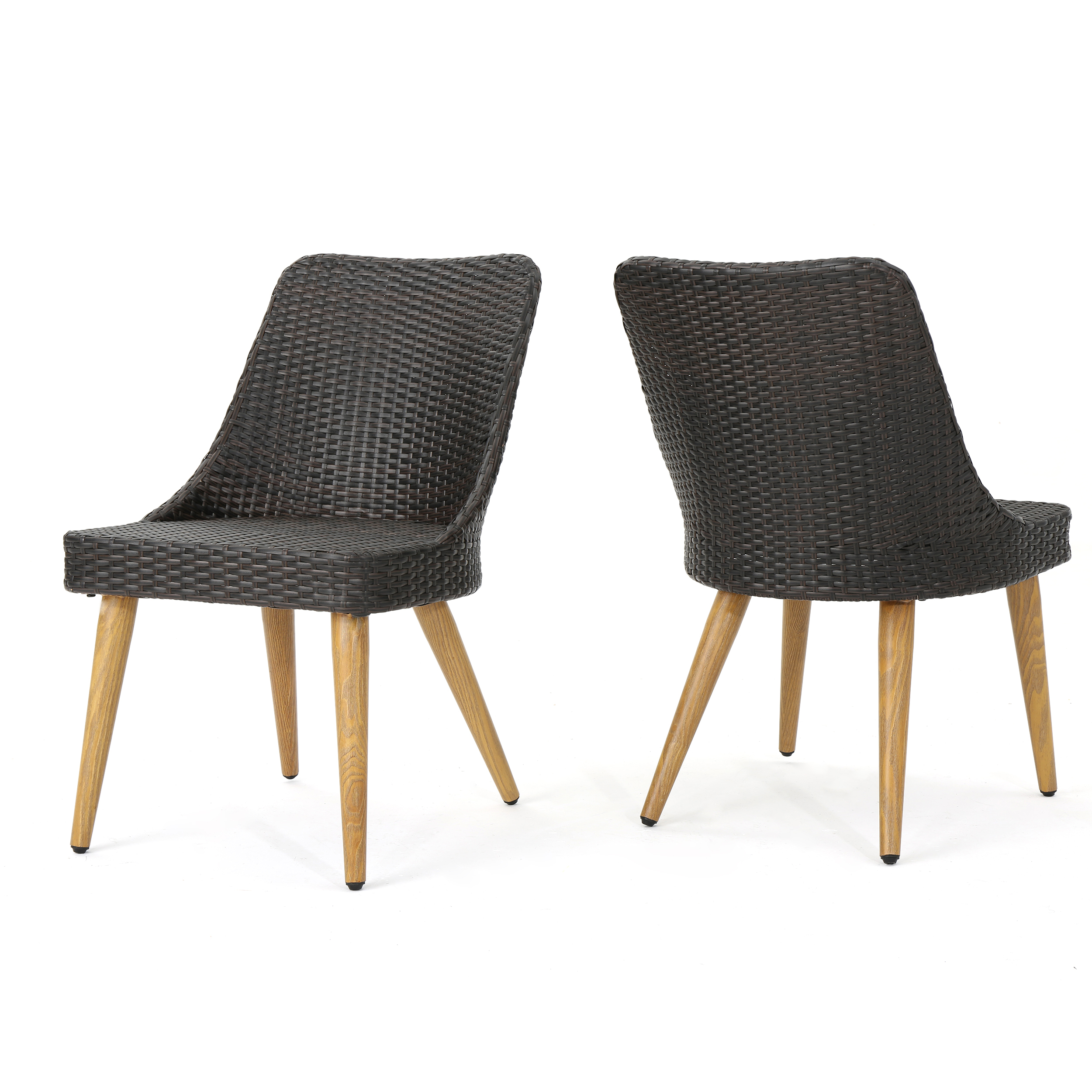 Desmond Outdoor Wicker Dining Chairs with Light Brown Wood Finished Metal Legs, Set of 2, Multibrown