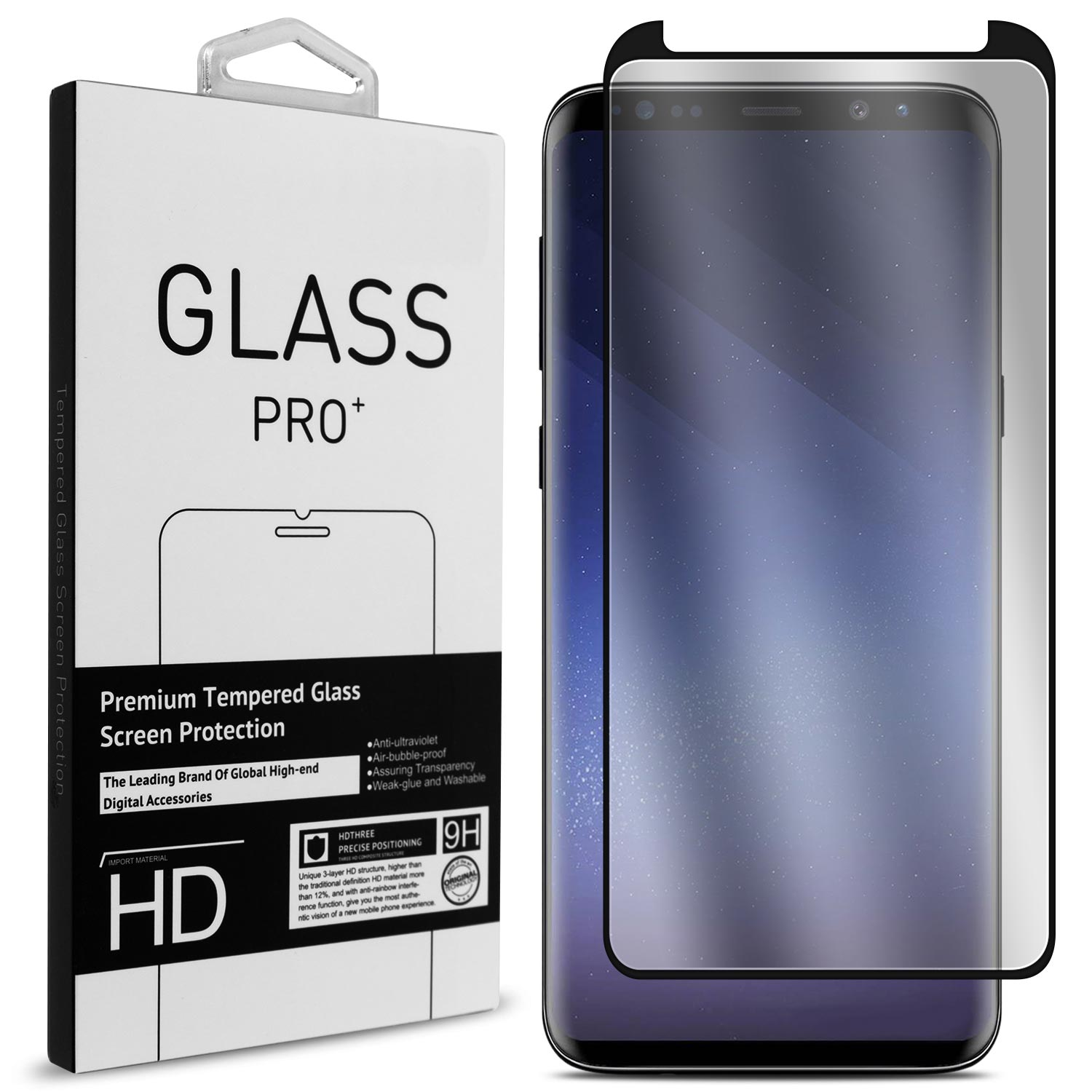 CoverON Samsung Galaxy S9 Plus Tempered Glass Screen Protector - InvisiGuard Series Full Coverage 9H with Faceplate (Case Friendly)