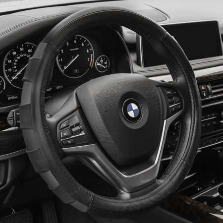 FH GROUP Genuine Leather Sports Steering Wheel Cover, Gray and Black Bmw Steering Wheel Cover