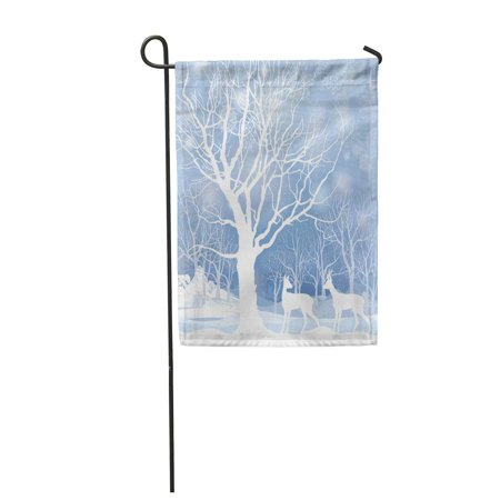 SIDONKU Blue Wonderland Snow Winter Landscape with Two Deers Abstract of Forest Tree Garden Flag Decorative Flag House Banner 12x18 inch - Winter Wonderland Blue