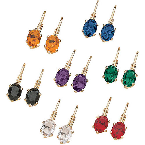 Multicolor Austrian Crystal 14kt Gold-Plated Euroback Earrings, 7 Pairs
