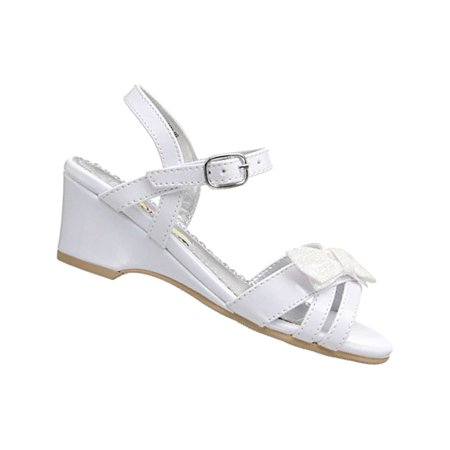 Girls Wedges (Rachel Shoes Little Girls White Bow Accent Strappy Wedge)