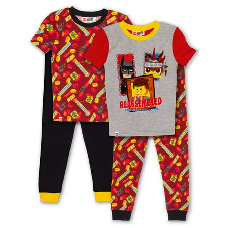 Boys' Lego Movie 2 4 Piece Pajama Sleep Set (Little Boy & Big - Toddler Boys Pjs