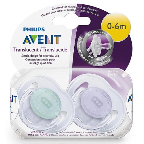 Philips Avent Orthodontic Translucent Pacifier, 0-6 Months [colors vary] 2 ea (Pack of 3)