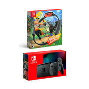 New Nintendo Switch Gray Joy-Con Console Bundle with Ring Fit Adventure Set: Game, Ring-Con and Leg Strap - Best Fitness Game!