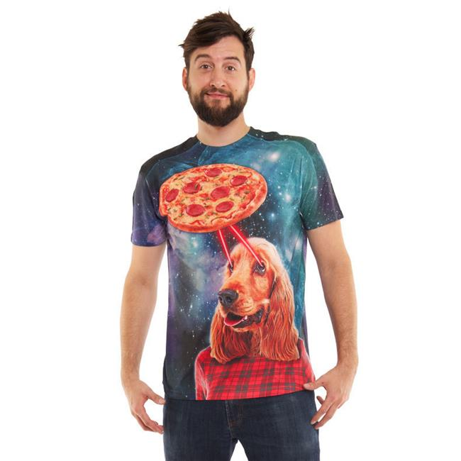 Faux Real Shirt F133885-XL Mens Pizza & Dog Laser Beams, Turquoise & Purple - Extra Large - image 1 of 1