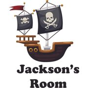 Pirate Boat With Flags Personalized Name Custom Names Pirate Ship Wall Decals - Boys Room Pirates Ships Kids Decor Sticker Room Decoration for Bedrooms - Stickers Sticker Boy Designs Size (30x17 inch)