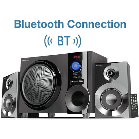 Boytone BT-225FB Wireless Bluetooth Stereo Audio Speaker Bookshelf System, Powerful Bass, Treble, Clear Sound, FM Radio, USB/SD/RCA Input, Output, for Phone's, Laptops, DVD Player,
