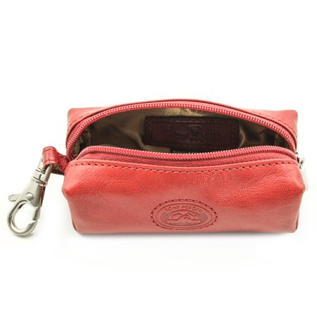 Tony Perotti Italian Leather Zippered Pouch Key Case in Red