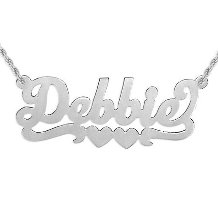 24K Gold Plated Sterling Silver or Sterling Silver Personalized Name Necklace with Double Hearts, fastened with a rope (Silver Plated Rope Chain)