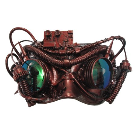 Plastic Half Mask (Scientific Steampunk Half Red Spiked Mask Goggles Tubes Gears Costume)