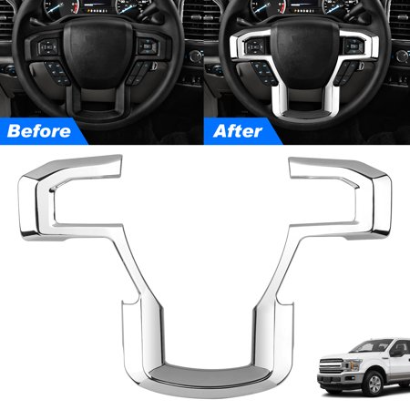 EEEkit Steering Wheel Decoration Cover Frame Trim for 2015 2016 2017 Ford F150 F250 F350 Super Duty,Silver,Customize Style (Access F150 Cover)
