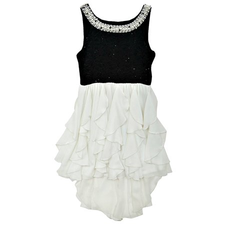 Rare Editions Big Girls Black and White Pearl Neckline Formal Dress 7](Black And White Girls Dress)