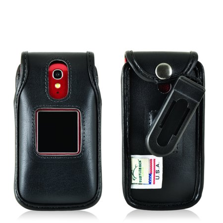 Turtleback Fitted Case for Greatcall Jitterbug Flip Phone Black Leather Rotating Removable Belt Clip Made in USA