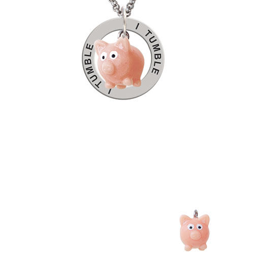 Resin Pink Pig I Tumble Affirmation Ring Necklace