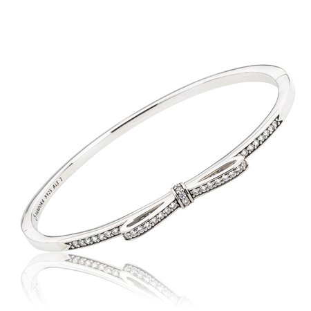 Authentic Sparkling Bow Hinged Bangle Clear Cz 590536cz 3 7 5 In