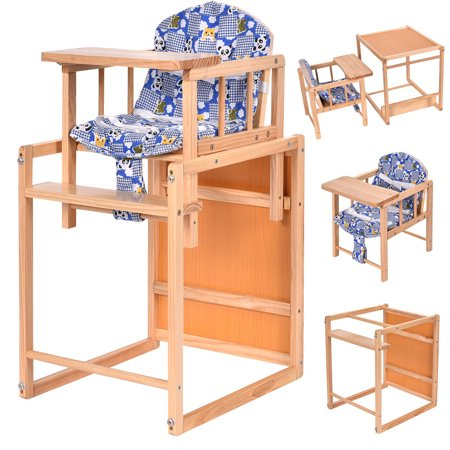Costway 2 In 1 Solid Wooden Baby High Chair Feeding Infant