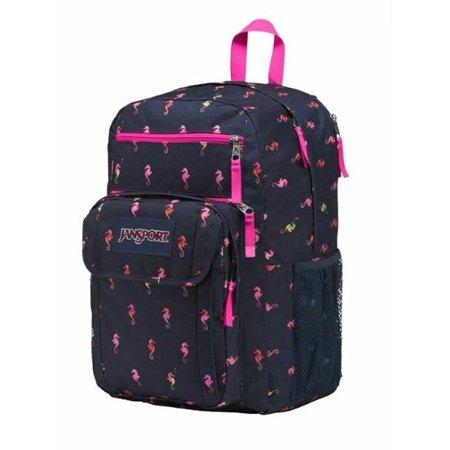 "JanSport 17"" Digital Student Backpack, Navy & Pink Seahorse School Travel Bag"