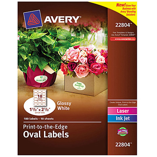 "Avery 22804 Easy Peel Print-to-the-Edge White Oval Labels, Glossy, 1-1/2"" x 2-1/2"", 180 Labels/Pack"