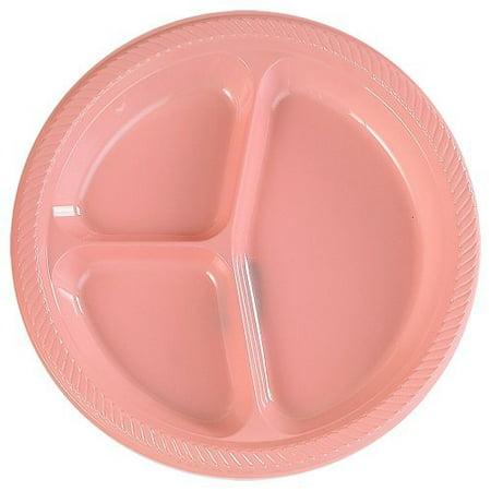 Plastic Divided Dinner Plates (Light Pink Divided Dinner Plates (20)
