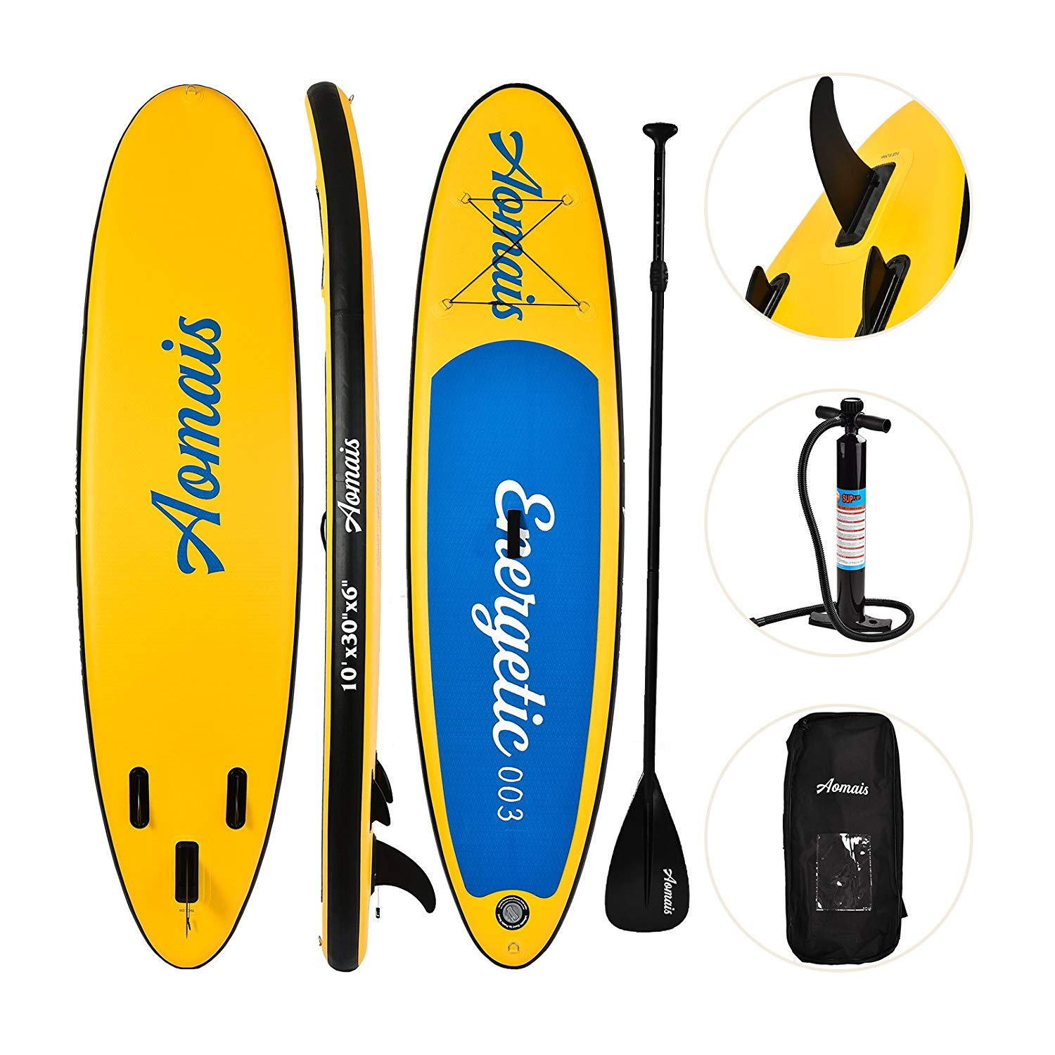 uEnjoy Inflatable Stand Up Paddle Board (6 Inches Thick) Non-Slip Deck Adjustable Paddle Backpack,Pump,Repairing kit by Uenjoy