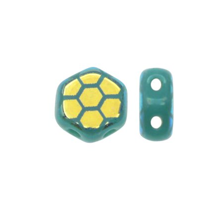 Czech Glass Honeycomb Beads, 2-Hole Hexagon 6mm, 30 Pcs, Laser Etched Core Design Green Turquoise AB Design Turquoise Fused Glass