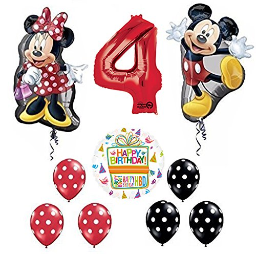 Mickey and Minnie Mouse Full Body 4th Birthday Supershape Balloon Set