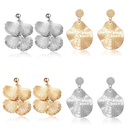 1 Pair Exaggerate Combination Geometric Drop Earrings Attractive Statement Earrings Long Earrings Earbob Eardrop(Silver Geometry)