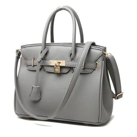 RW Collections Carey Designer Tote Satchel Shoulder Crossbody Bag Handbag, Grey](Gray Tote Bag)