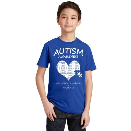 Heart Support Shirts - Autism Awareness Support Heart Puzzle Youth T-shirt, Youth S, Royal