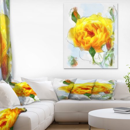 Yellow Rose with Rose Buds Sketch - Large Floral Canvas Artwork - image 1 de 3
