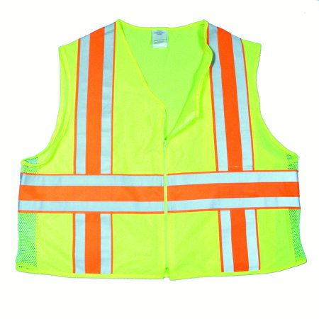 High Visibility Polyester ANSI Class 2 Deluxe Dot Mesh Safety Vest with Pockets, X-Large, Lime