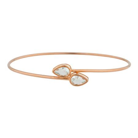 14Kt Rose Gold Plated Aquamarine Pear Bezel Bangle Bracelet 14k Rose Gold Bangle Bracelet