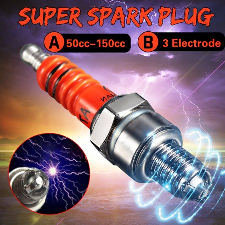 Moped Spark Plug (Super Spark Plug C7HA C7HSA 3 Electrode GY6 50cc-125cc Moped Scooter ATV Quads Hot Copper pack Motorcycle )