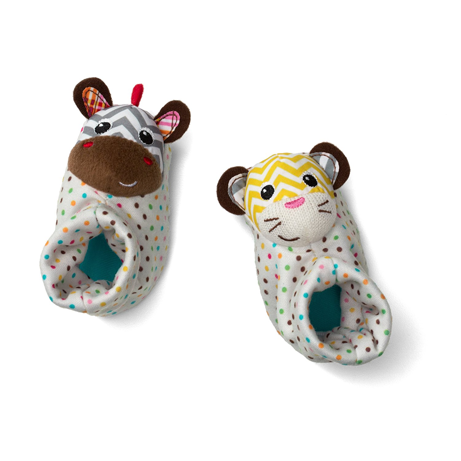 Foot Rattles, Zebra and Tiger, Slip on with ease By Infantino Ship from US