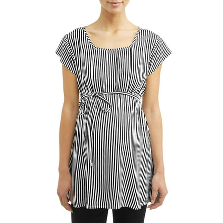 Oh! MammaMaternity elastic waist stripe top - available in plus - Empire Waist Maternity Shirt