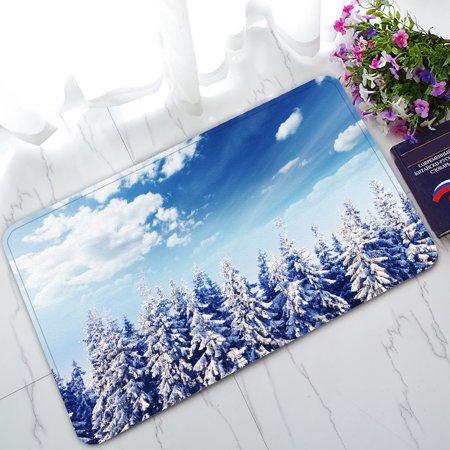 YKCG Beautiful Winter Landscape with Snow Covered Trees Christmas Snowflake Doormat Indoor/Outdoor/Bathroom Doormat 30x18 inches (Door Covers For Winter)