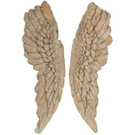 HomeRoots 60% marmag,40% polycarbaf Angel Wings Statue Wall Art, Set of 2, Brown