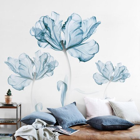 180x110cm Large Blue Flower Wall Stickers DIY Vinyl Removable Decal Living Room Decor Art Mural ()