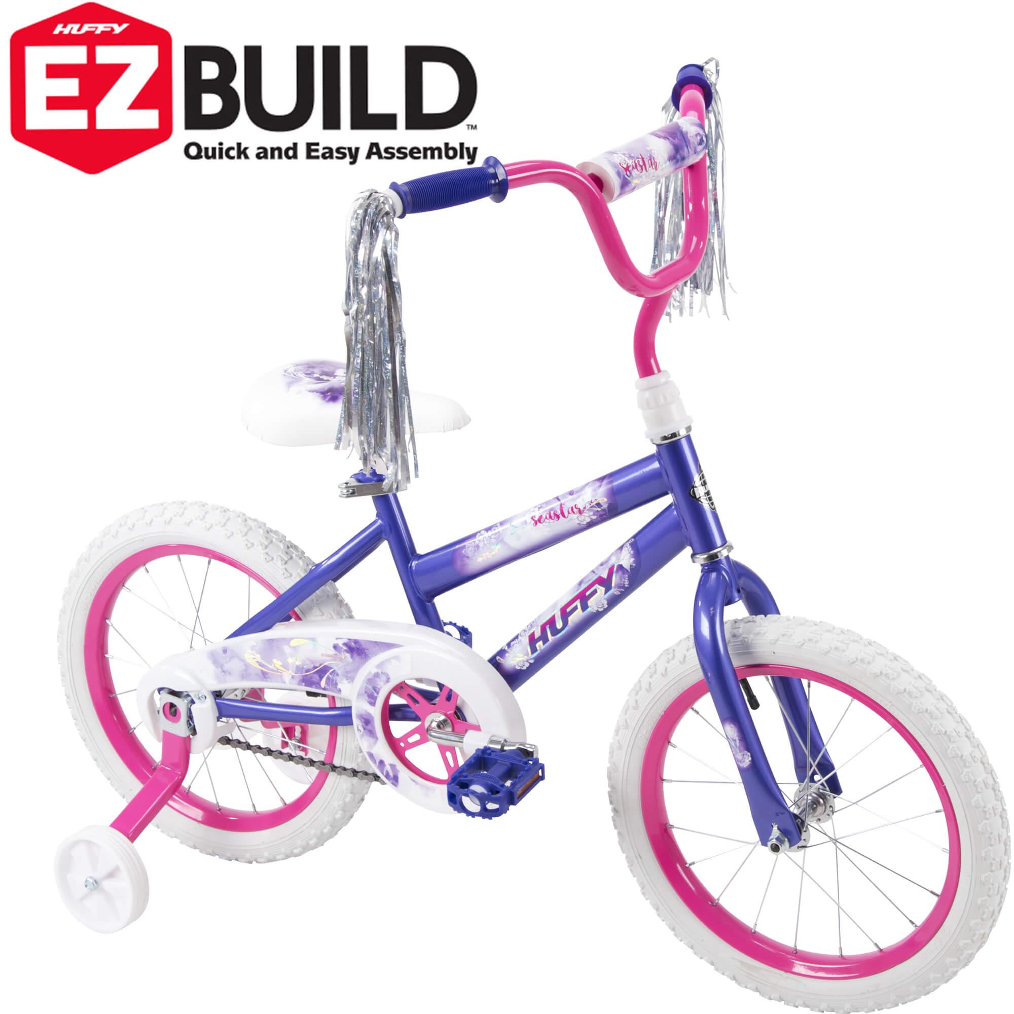 "Huffy 16"" Sea Star EZ Build Kids Bike for Girls', Purple"