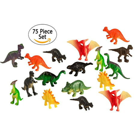 Party Bib - big mo's toys 75 piece party pack mini dinosaurs - plastic mini educational dinosaur animal toys - fun gift party giveaway