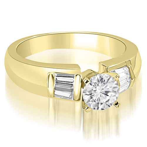 0.75 CT.TW Round and Baguette Cut Diamond Engagement Ring in 14K White, Yellow Or Rose Gold