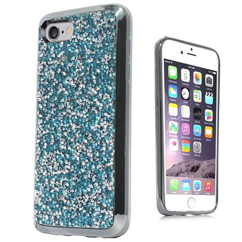 Mundaze Teal Mint Crystal Diamond Stones Case For Apple iPhone 7 8 Phone