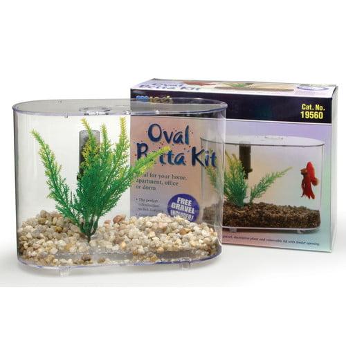 Lees Aquarium & Pet Mini Oval 0.75 Gallon Aquarium Betta Kit