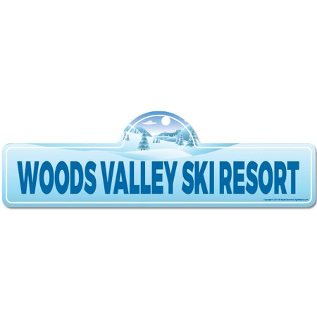 - Woods Valley Ski Resort Street Sign | Indoor/Outdoor | Skiing, Skier, Snowboarder, Décor for Ski Lodge, Cabin, Mountian House | SignMission personalized gift
